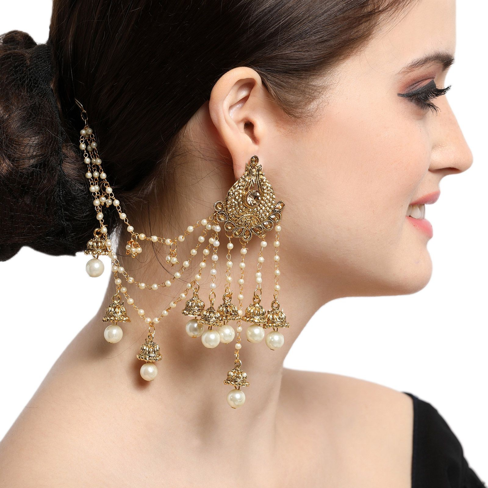 Flower Designer Gold Plated Chain Jhumka