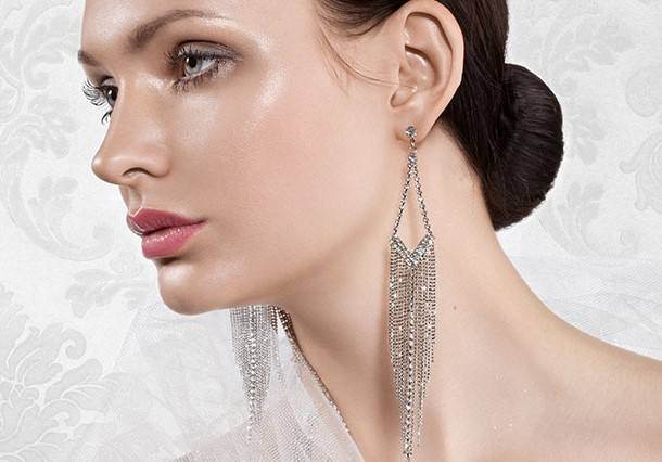 Long Tassel Rhinestone Dangle Earrings